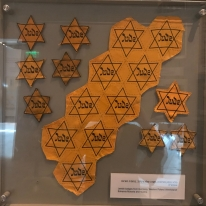 Mass produced 'Jewish stars' There were several versions of these 'Jewish stars' on display. Such a powerful symbol.