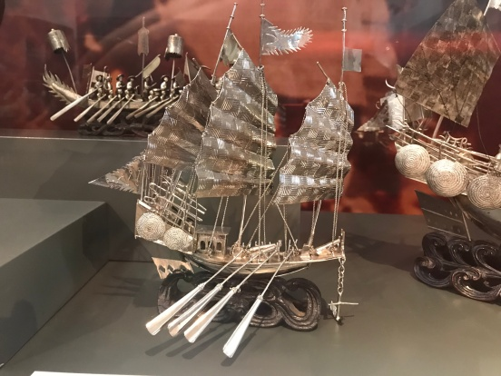 The intricate work on these boats was breathtaking. Silver-plated model of a small police or war junk, early 20th century, Hong Kong Maritime Museum collection.