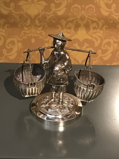 One of pair of silver figural condiments, Wang Hing, Hong Kong, c.1900, on loan from Chris Hall.