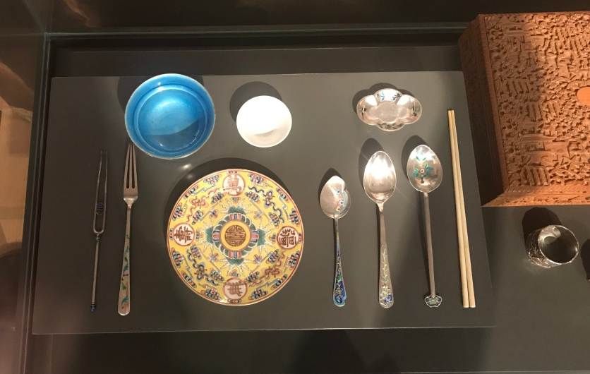 A set of Chinese silver and ceramic tableware, Qing dynasty, on loan from Cheng Xun Tang Collection.