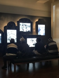 These gravestone shaped screens worked well and these people sat there for ages...